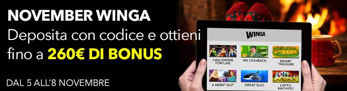 Novembre Winga 260 euro bonus