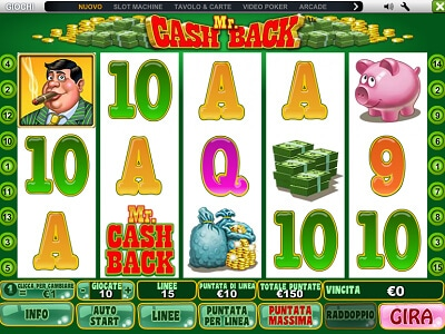 Mr Cashback slot machine gratis con bonus