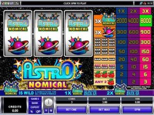 Astronomical slot machine